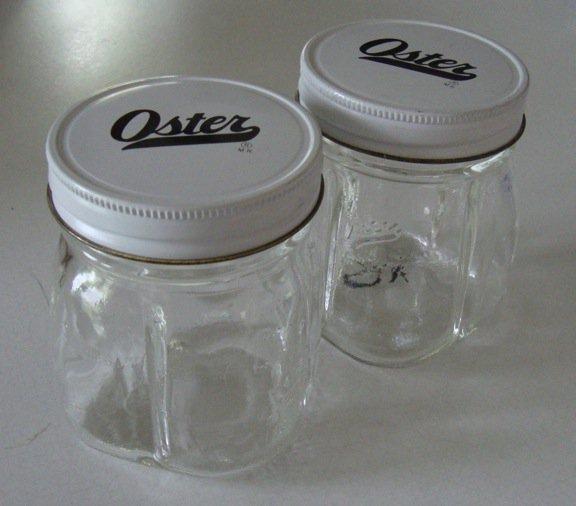 Vintage Oster Osterizer Liquefier Blender Mini Blend Jar Glass Container Set Of 2