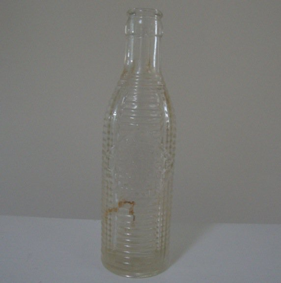 Vintage Crush Ribbed Clear Glass Soda Bottle