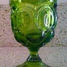 "Vintage Avocado Green Moon & Stars Water Goblet - 5 7/8"""