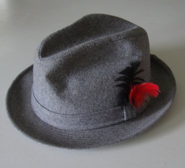 Mens Gray Fedora Hat with Feather