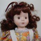 """Vintage 16"""" Porcelain Brunette Doll w/ Violin"""