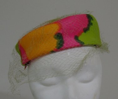 Vintage 1960s Day Glow Mod Pillbox Hat