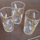 Vintage White Wheat Glass Tumbler  Set of 3