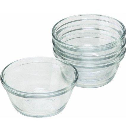 Anchor Hocking Clear Glass Oval Custard Cups / Ramekins Set of 4