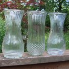 Vintage Hoosier Tall Vase Trio - Clear Glass