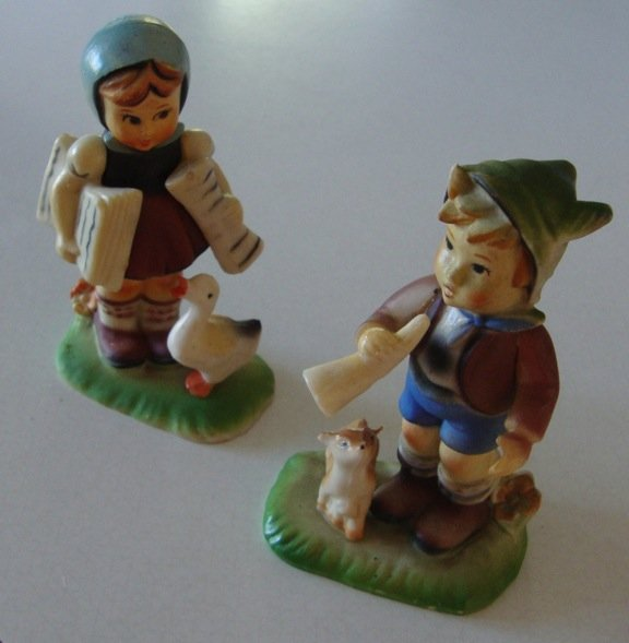 Vintage Plastic Hummel Style Figurines - Set of 2 Made in Hong Kong