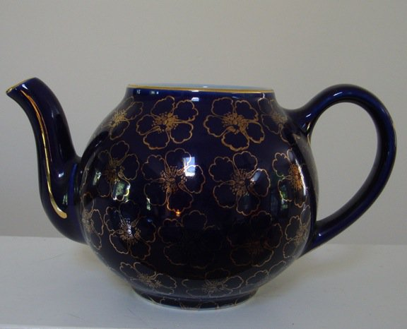 Vintage Hall French Flower Cobalt Standard Gold Teapot - No Lid