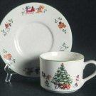 Vintage China Pearl Magical Christmas Cup & Saucer  Set of 2