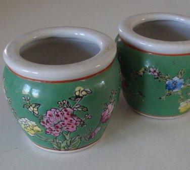 Miniature Hand-Decorated Jardiniere Flower Pot Fish Bowl Set of 2