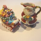 Vintage Fitz and Floyd Candy Lane Express Christmas Santa & Sleigh Creamer & Sugar