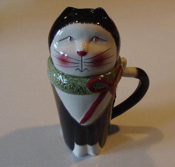 Vintage Oneida Beverage Buddies Figural Christmas Cat Coffee Mug w/ Lid
