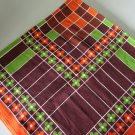 Vintage 70s Orange Brown Green Geometric Card Table Tablecloth