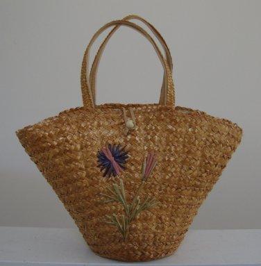 Vintage Straw Raffia Handbag Purse - Italy