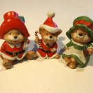 Vintage Homco Santa Bears #5600 Mama, Papa and Baby Bear