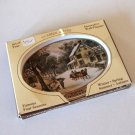 Vintage Fabcraft Currier and Ives The American Homestead 4 Seasons Wall Plaques Tin Trays