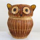 Vintage Shanghai Handicrafts Bamboo / Wicker Owl Basket