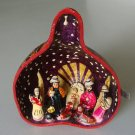 Peruvian Peru Folk Art Carved Gourd w/ Nativity Sculptures