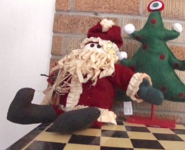 Santa Claus Fabric Doll Sculpture - Shelf Sitter