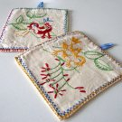 Vintage Hand Embroider Bird Pot Holder - Set of 2