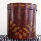 Folk Art Paper Mache Round Storage Box