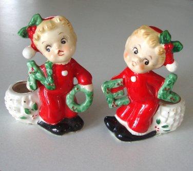 Vintage Japan Christmas Boy Girl NOEL Figurine Candlestick Candle Holder in Original Box