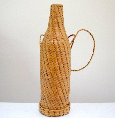Vintage 1970s Natural Raffia Wine Bottle Carrier / Shoulder Strap