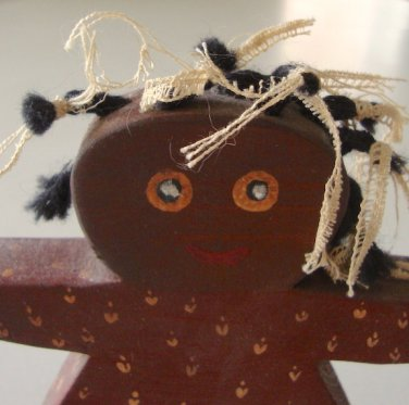 Vintage 1984 Wooden Folk Art Black Americana Young Girl Shelf Sitter