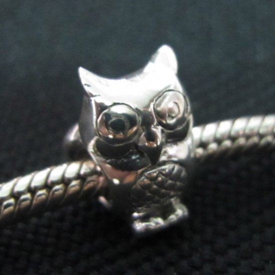 Owl bead sterling silver