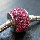 Pink Crystal Swarovski bead sterling silver