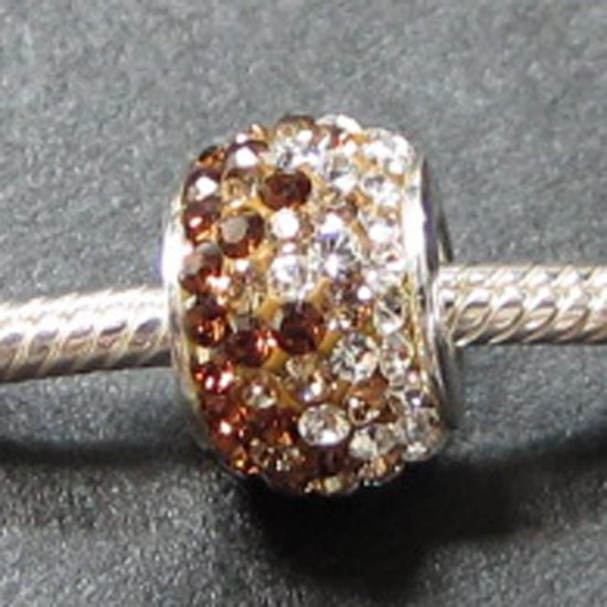 Brown Crystal Swarovski bead sterling silver