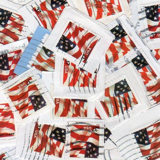 100 USA Used 37c Flag stamps on paper bundle bundleware red
