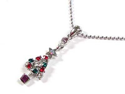 "Dazzling WGP Crystal Christmas Tree Silvertone 16"" Ball Necklace"