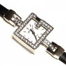 "Unique ""G"" Swarovski Crystal Stainless Steel Women's Watch - Leather Band - FREE SHIPPING"