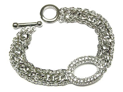 Beautiful Silvertone Austrian Crystal Oval Circle of Life Toggle Bracelet