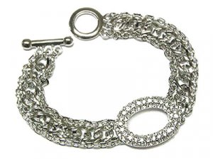 Beautiful Silvertone Austrian Crystal Oval Circle of Life Toggle Bracelet