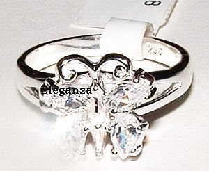 Elegant Sterling Silver CZ Butterfly Ring Size 8 - FREE SHIPPING