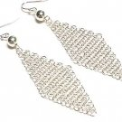 High Quality Silver WGP Triangular Mesh Earrings - FREE SHIPPING