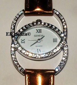 Dazzling Double C Crystal Stainless Steel Women's Watch With Bronze Leather Band - FREE SHIPPING