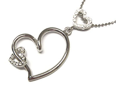 Austrian Crystal Multi Floating Heart Necklace