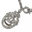 Gorgeous Silvertone Juicy Austrian Crystal Crown Toggle Necklace