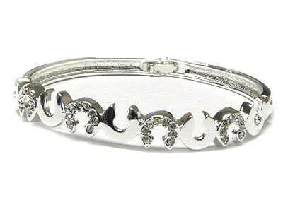 Austrian Crystal Silvertone Horseshoe Spring Hinged Bangle Braceelt
