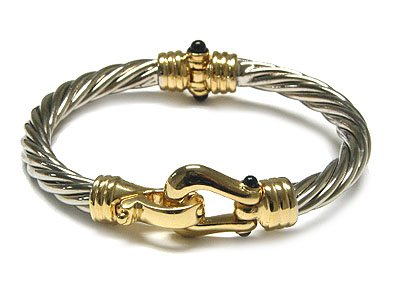 Beautiful 2 Tone Twisted Cable Bangle Bracelet - FREE SHIPPING