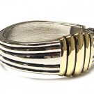 Two Tone Wide Twisted Cable Bangle Cuff Bracelet - FREE SHIPPING