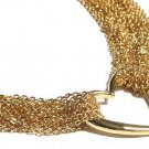 Gorgeous Heavy Goldtone Mesh Link Floating Heart  Toggle Necklace