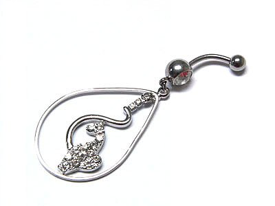 Dazzling WGP Austrian Crystal Phat Cat Surgical Steel Belly Ring - FREE SHIPPING