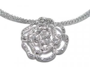 Brilliant Giovanni Rose Austrian Crystal WGP Multi Mesh Link Chain Necklace