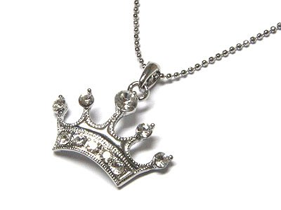 Dazzilng WGP Stainless Steel Austrian Crystal Crown Necklace