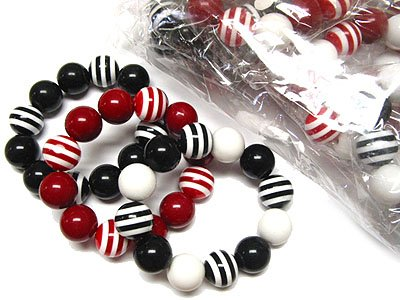 Beautiful Acrylic Stripe Ball Bead Stretch Bracelet Wholesale Jewelry Lot (12 Pack)