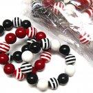 Beautiful Acrylic Stripe Ball Bead Stretch Bracelet Wholesale Jewelry Lot (12 Pack)