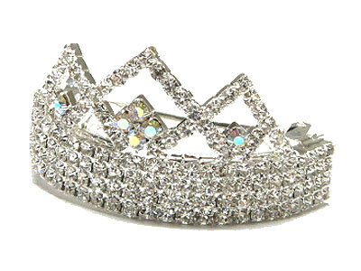 Dazzling Austrian Crystal Crown Princess Ponytail Holder